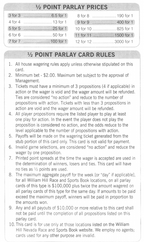 William Hill Parlay Card Example Las Vegas Nevada