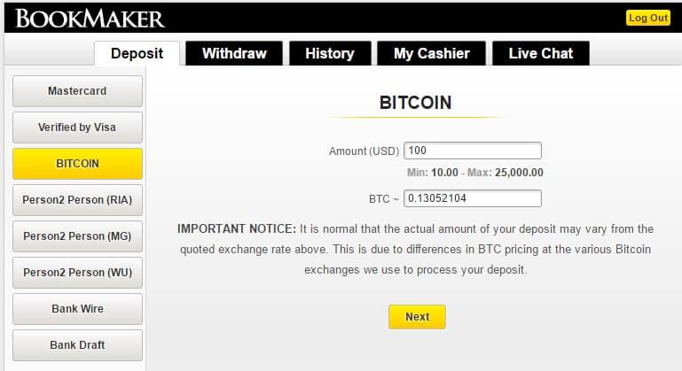 CoinBase Bitcoin Sportsbook Deposits Step 2
