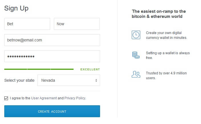 CoinBase.com Bitcoin Registration Step 1