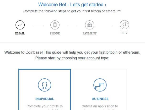 CoinBase.com Bitcoin Registration Step 2