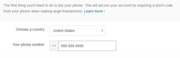 CoinBase.com Bitcoin Registration Step 3