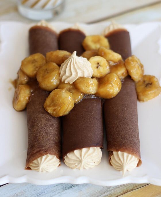 Chocolate Crepes with Peanut Butter Marshmallow Filling
